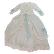 """Lt. Blue & White Fashion Dress for Approx. 24"""" Antique German or French Fashion or Lady Doll"""