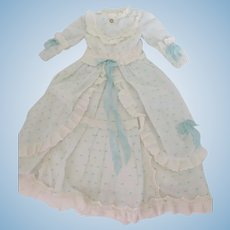 "Lt. Blue & White Fashion Dress for Approx. 24"" Antique German or French Fashion or Lady Doll"