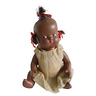 "Vintage 1940's Black Composition 9"" Topsy Baby Doll All Original"