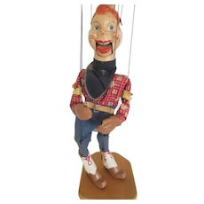 "Vintage 1940's Howdy Doody 17"" Marionette Puppet Composition All Original w/ Stand"