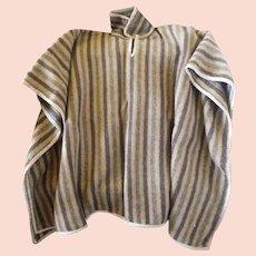 Vintage 1970 Never Used Peruvian Alpaca Wool Heavy Poncho Reversable Brown Stripe