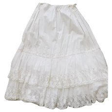 Gorgeous! Antique Vintage White Eyelet Layered Victorian Skirt Drawstring Waist