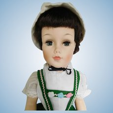 """Rare! Vintage 1961 Alexander 30"""" Mimi Vinyl Playpal in Rare Tyrolean Outfit"""