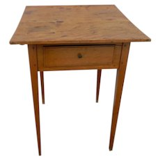 Antique Birch Side Table with Drawer