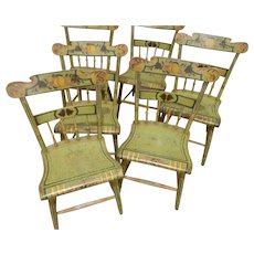 A Set of 6 Pennsylvania 19th Century Paint Decorated Chairs