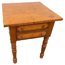 Figured Maple 2 Drawer Side Table