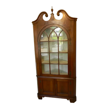 Antique Inlaid American Corner Cupboard