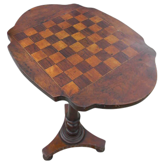 A 19th Century Walnut Inlaid Gameboard Top Table