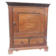 18th Century Walnut American Spice or Valuables Cabinet