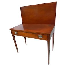 Hepplewhite Walnut Inlaid American Game Table Circa 1810