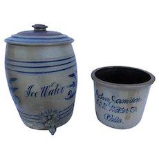 19th Century Stoneware Water Cooler of American Origin