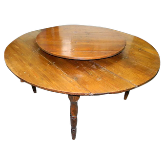 Southern Pine Dining Table with Lazy Susan