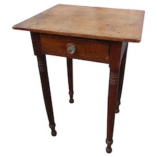 19th Century Tiger Maple 1 Drawer Side Table