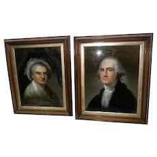 Pair of Portraits of George & Martha Washington