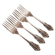 Wallace Grand Baroque Sterling Silver Salad Forks (4)