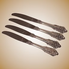 Wallace Grand Baroque Sterling Silver Handle Dinner Knives (4)