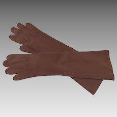 Vintage Hermes Soft Suede Gloves Mocha Brown Unused