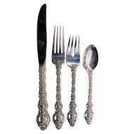 International King Louis Sterling Silver Four Piece Place Setting