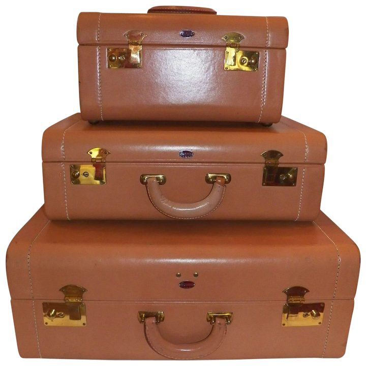 0c9ee1c8a9bc Vintage Towne three piece leather hard case luggage set   Grace s ...