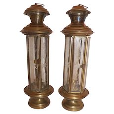 Brass and Etched Glass Candle Hurricanes Pair