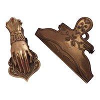 Brass Vintage Embossed Paper Clips, Desk Accessories (2)