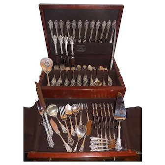 Wallace Grand Baroque Sterling Silver Flatware Set for 16 with 17 serving pieces