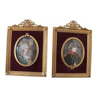 19th Century Portraits of a French Naval Officer & His Wife