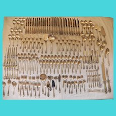 Very Large Wallace Sir Christopher Sterling Silver Flatware Set 190 Pc w/22 Servers