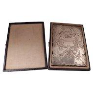 Sterling Silver bright cut engraved card case in original box, monogram