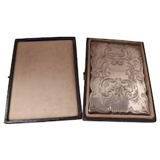 Sterling Silver bright cut engraved card case in original box, monogram