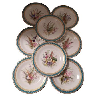 Royal Worchester, F & C Osler Porcelain Cabinet Plates with heavy gold trim, set of 8