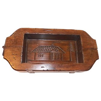 Antique Wooden Butter Mold with House imprint