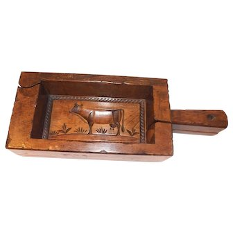 Antique Wooden Butter Mold with Cow imprint