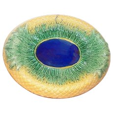 Majolica pottery oval dish or tray