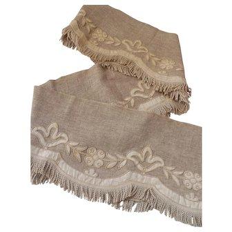 Vintage Linen Ecru Cord Trimmed Valance or Cornce Cover with Fringe.