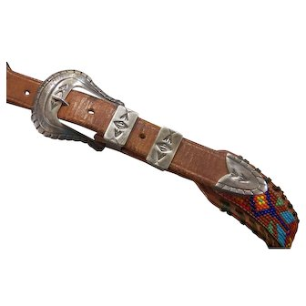 Native American Sterling Ranger Belt Buckle four piece.