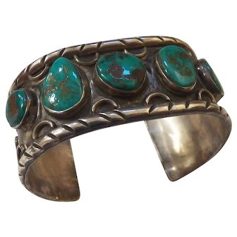 Vintage Native American Silver and Turquoise Bracelet