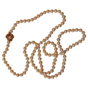 """Beautiful Strand  of Pearls w/ 14K Gold Clasp 34"""""""