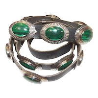 Native American Stamped Sterling and Malachite Concho Belt