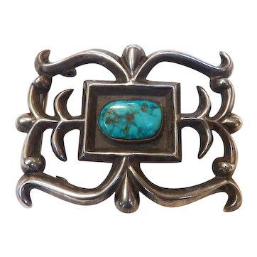 Vintage Native American Sandcast Belt Buckle w/ Turquoise stone