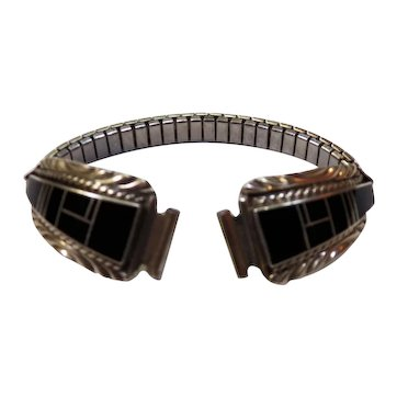 Native American sterling and onyx inlaid watch band CW