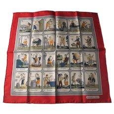 """Hermes silk scarf Alphabet des Metiers 16"""" unworn"""