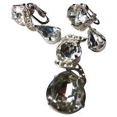Eisenberg rhinestone pendant and earrings