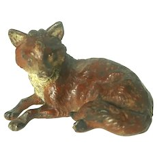 Vienna Bronze Fox Paperweight - Very Nicely Made With Original Factory Mark