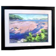"""Zu Ming Ho (born 1949) - Exquisite Original Hand-Signed Gouache - """"The Island"""""""