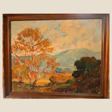 """George Demont Otis (American, 1879-1962) - Original Signed Oil On Canvas """" - """"Green Mountains, Golden Trees"""""""