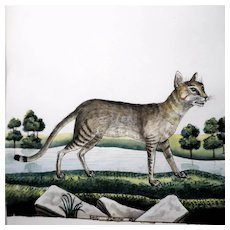 """William Goodall (English 1757 - 1844) - Original Signed Antique Watercolor - """"Streaked Thighed Cat"""""""