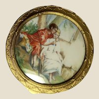 Hand-Painted Miniature Porcelain, As Top For Powder Box