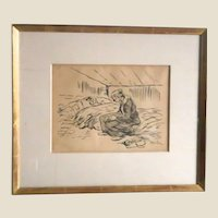 THEOPHILE ALEXANDRE STEINLEN  (Swiss, 1859-1923) - Original Signed Pen and Ink Drawing By Renowned Artist