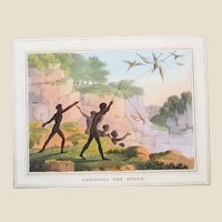 """Thomas Williamson  - """"Throwing the Spear"""" New South Wales, Australia, Original Hand-Colored Aquatint Engraving c 1819"""